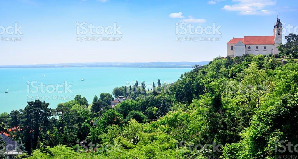Tihany abbey, Hungary Benedictine abbey in Tihany at the Lake Balaton in Hungary Abbey - Monastery Stock Photo