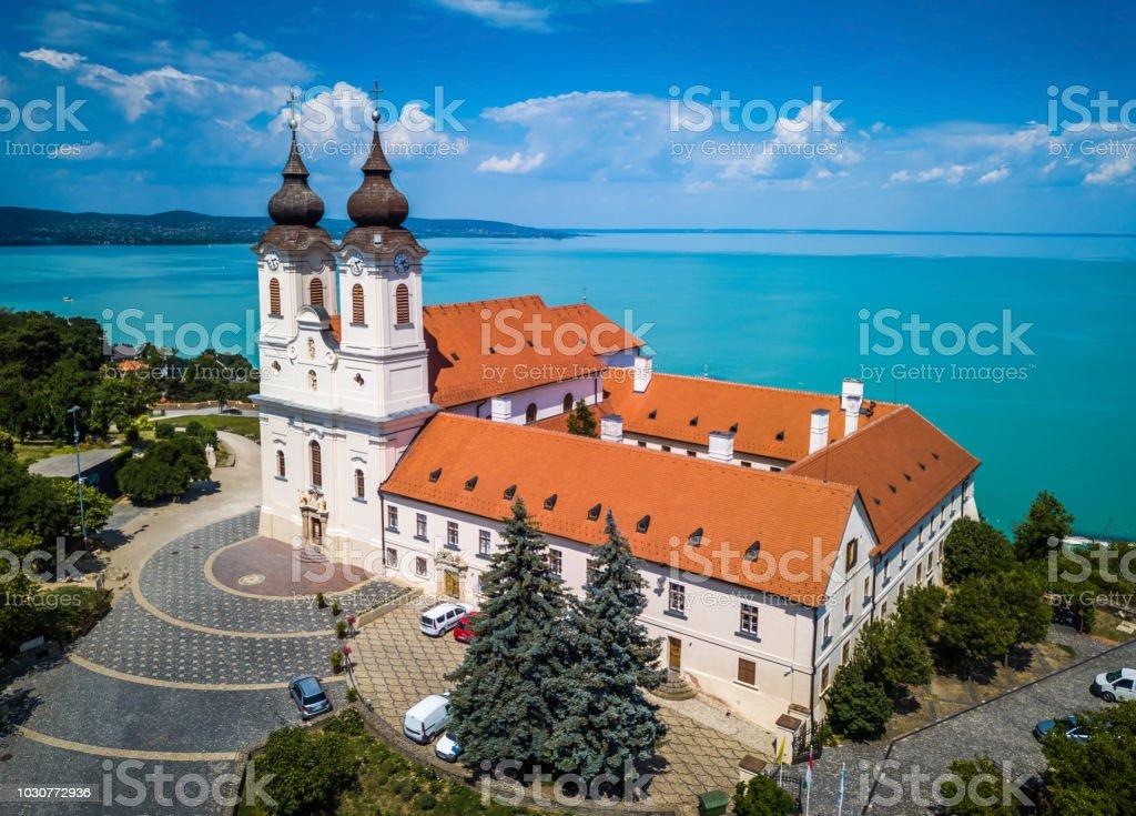 Tihany, Hungary - Aerial view of the famous Benedictine Monastery of Tihany (Tihany Abbey) with beautiful coloruful Lake Balaton – zdjęcie