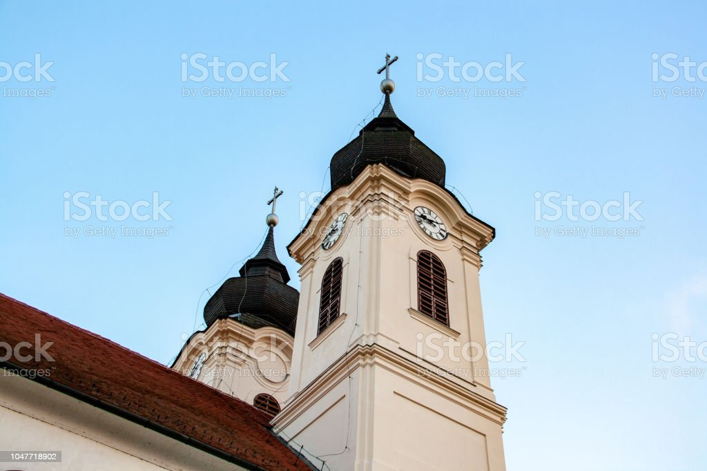 Tihany peninsula on Lake Balaton in Hungary'nThe most famous sight is the baroque abbey Tihany, founded in 1055, whose two towers are today symbolic of Tihany. – zdjęcie