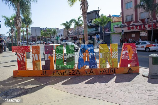 Tijuana, Baja California Mexico September 20, 2020 sign of giant letters with the word TIJUANA in the center of the city.
