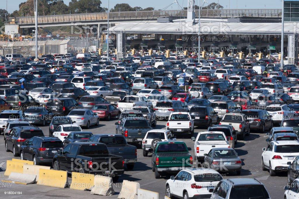 Tijuana border crossing traffic chaos stock photo