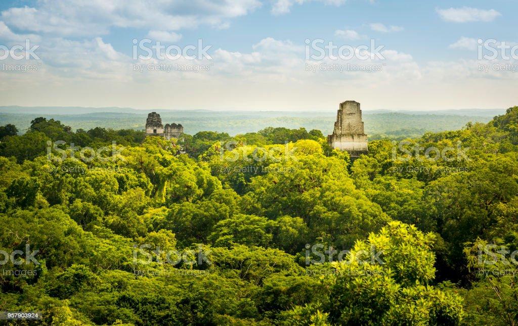 Tikal Guatemala Mayan Ruins Tikal in Guatemala, an ancient Mayan city in ruins surrounded by jungle Ancient Stock Photo