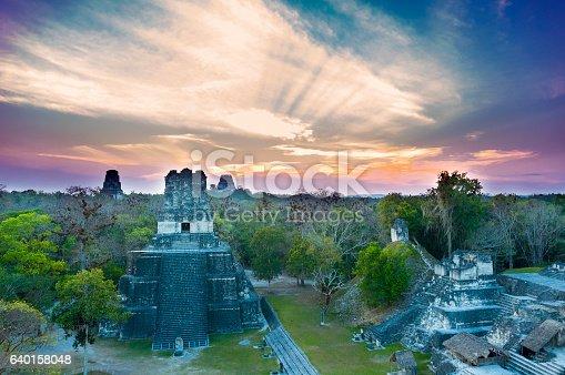 istock Tikal national park in Peten, Maya architecture. Guatemala 640158048