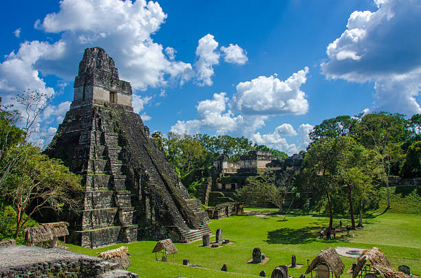 Tikal  Ruins and pyramids stock photo