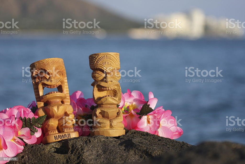 Tiki hawaii diamond head oahu waikiki honolulu lei statue aloha royalty-free stock photo