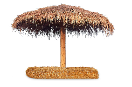 Tiki hut sun umbrella, Bar beach hut with straw chair isolated on white background