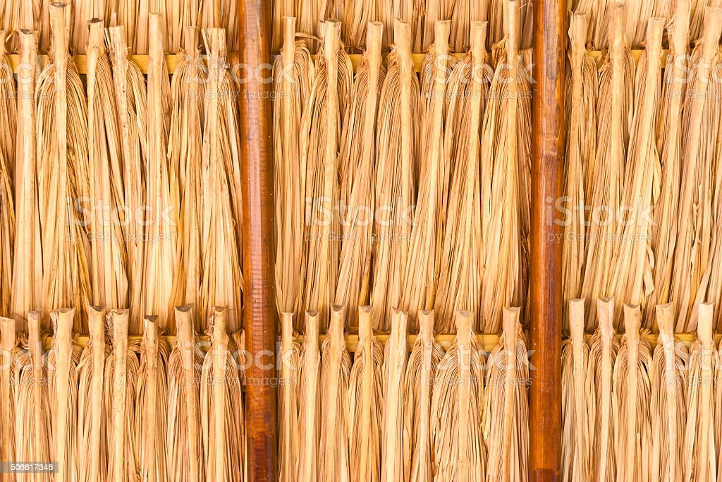 Tiki Hut Thatched Roof Construction stock photo