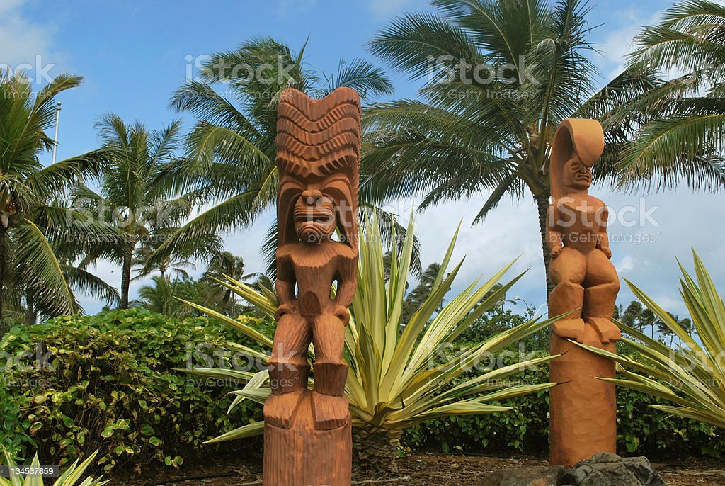 Tiki Idols in Hawaii stock photo