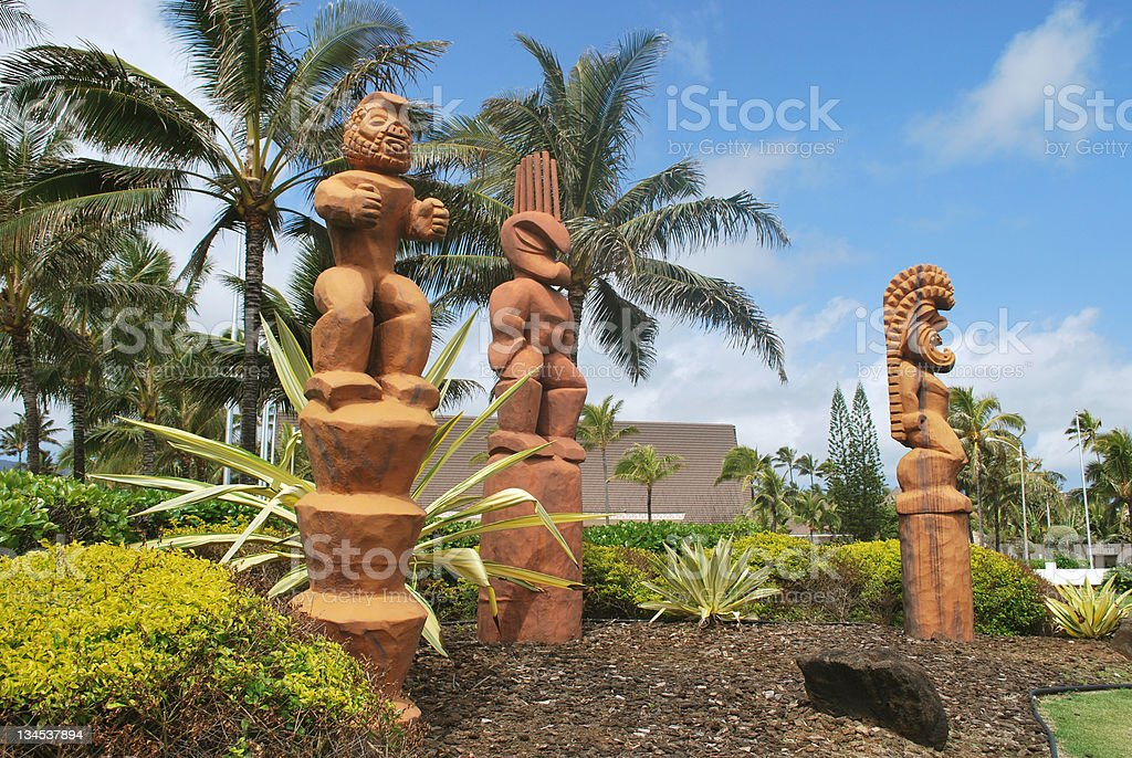 Tiki Idols in Hawaii royalty-free stock photo