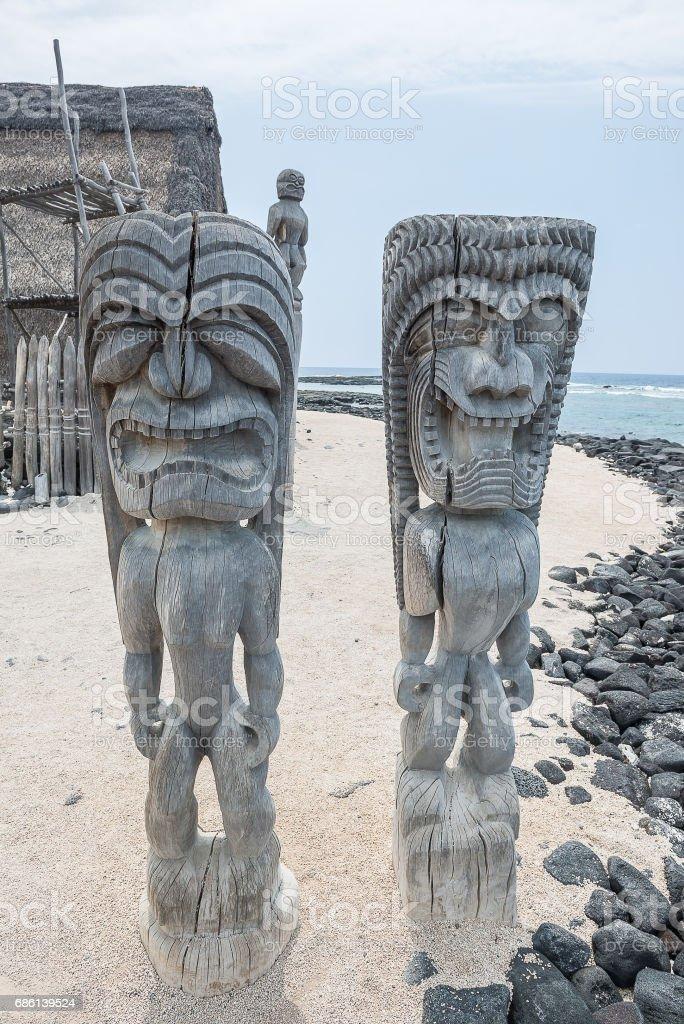 Tiki Statue of Hawaiian stock photo