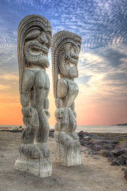 Tiki Statues at the City of Refuge stock photo