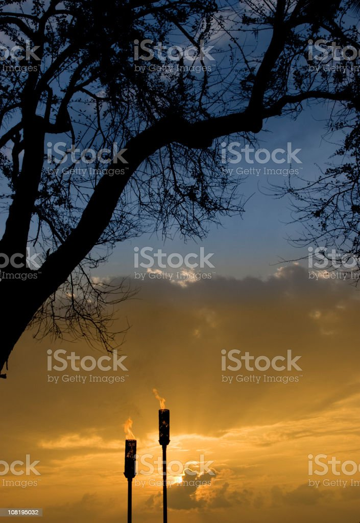 Tiki Torches, Tropical Island Paradise, Silhouetted Tree, Dramatic Sky royalty-free stock photo