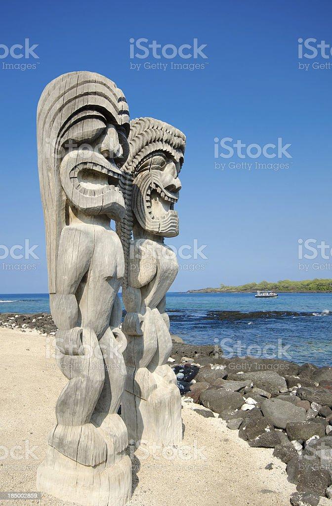 Tikis at Pu'uhonua O Honaunau National Historic Park stock photo