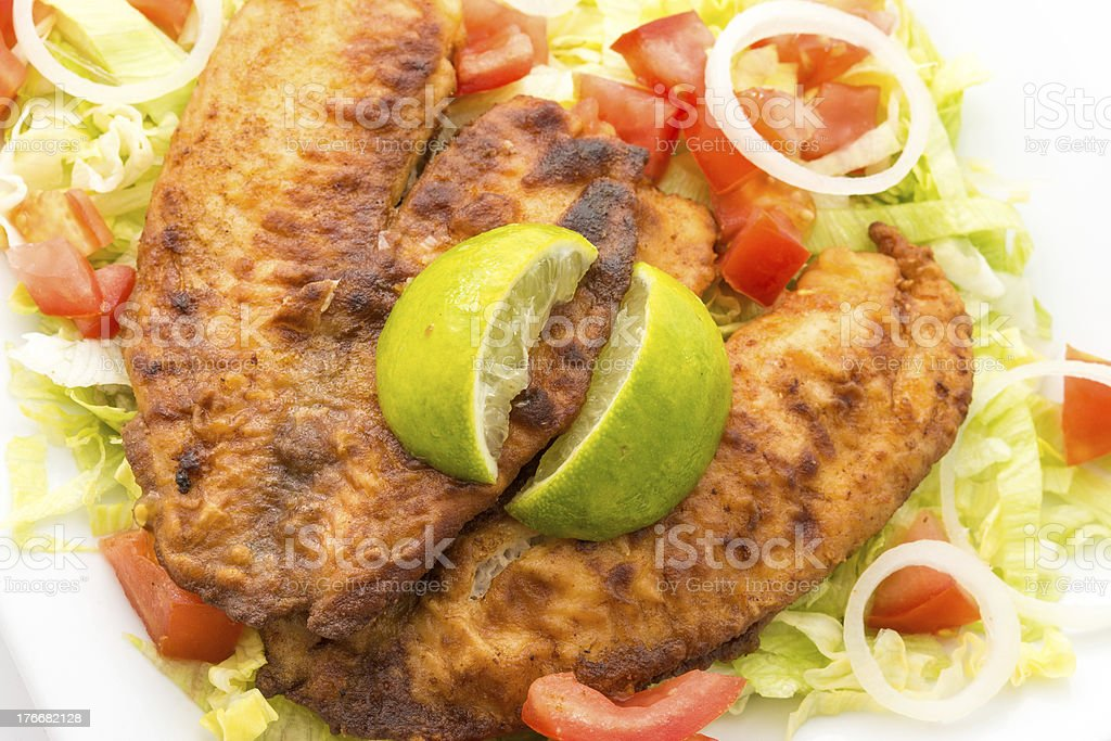 Tilapia and Salad royalty-free stock photo