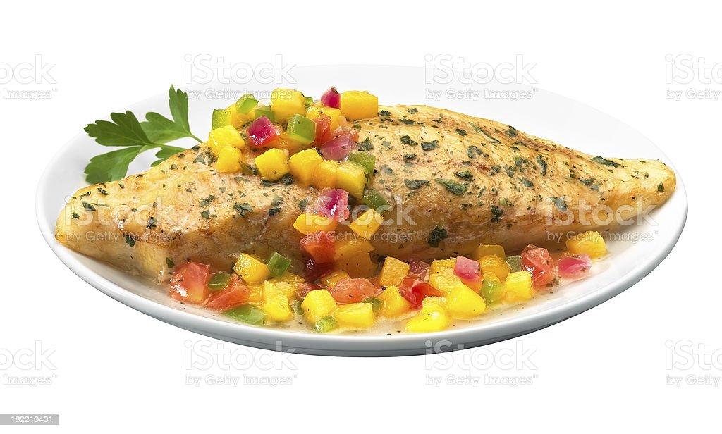 Tilapia with mango salsa stock photo