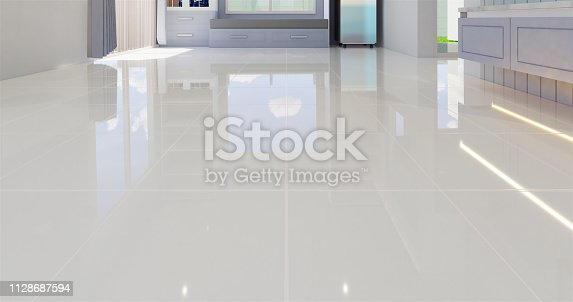 3D render illustration of white tile floor with grid line for background.