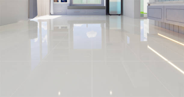 tile 3d render 3D render illustration of white tile floor with grid line for background. shiny stock pictures, royalty-free photos & images