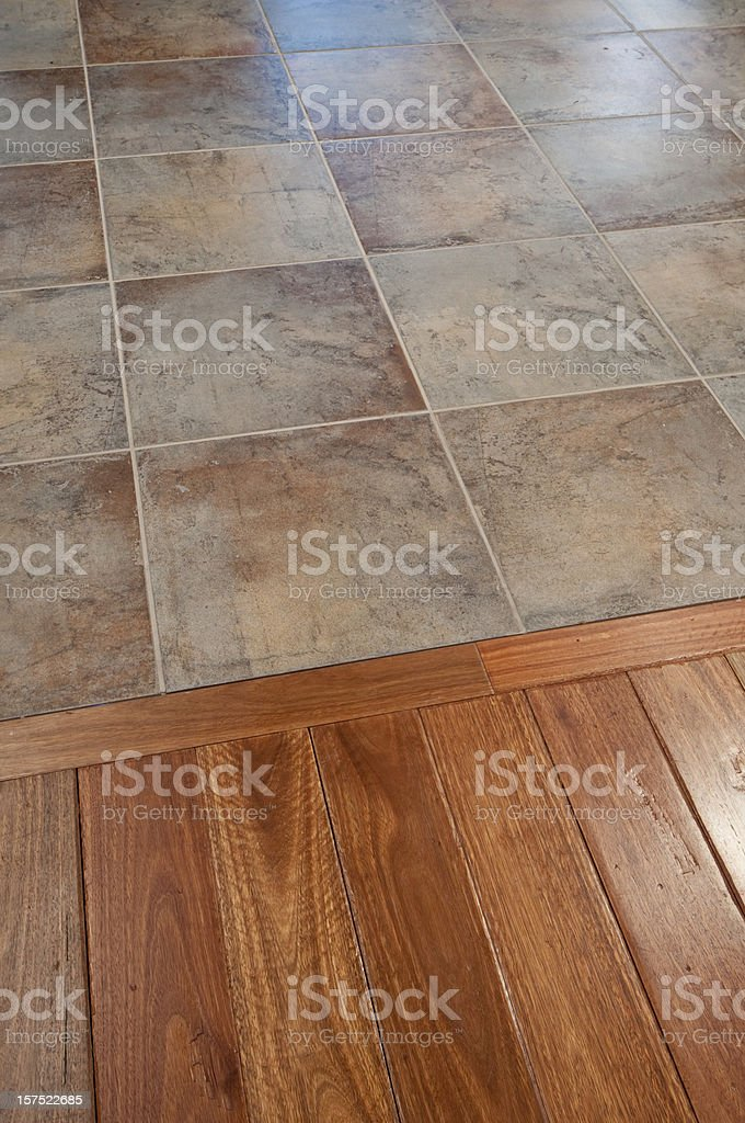 Tile and hardwood floor royalty-free stock photo