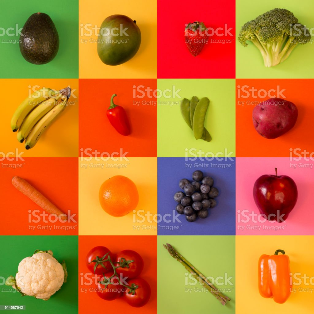 Tile Background Collage of Various Fruits and Vegetables stock photo