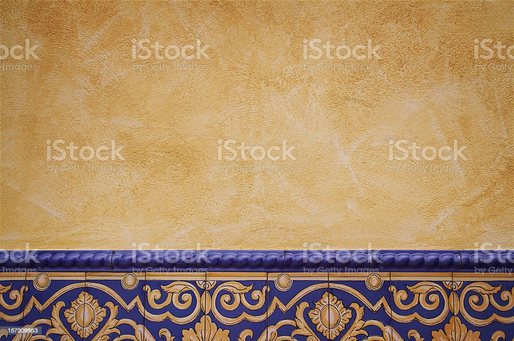 Tile decorated wall stock photo