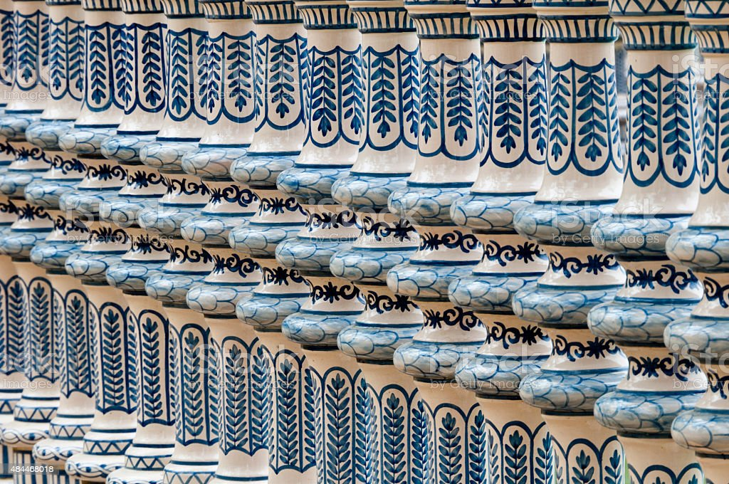 Tile detail from Plaza de Espana, Seville stock photo