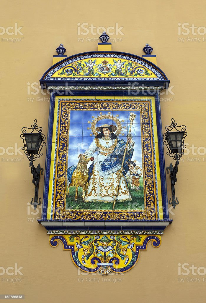 Tile Detail on Old Church in Seville Spain royalty-free stock photo