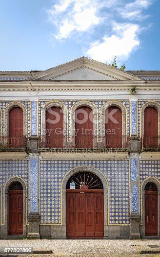 Santos, Brazil - Sep 1, 2017: Tile Facade House (Casa da Frontaria Azulejada) - Santos, Sao Paulo, Brazil
