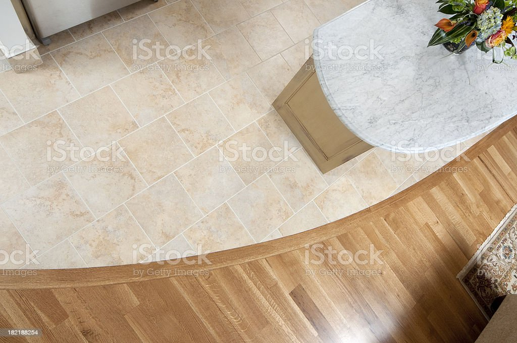 Tile floor and hardwood royalty-free stock photo