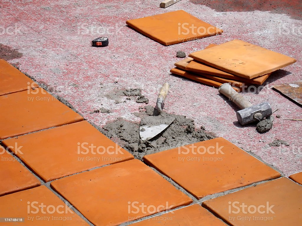 Tile floor in construction royalty-free stock photo