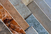 Tile flooring samples on display
