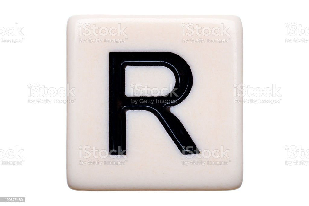 R Tile stock photo