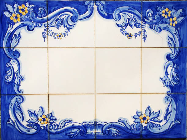 tile plaque in wall at portuguese street stock photo
