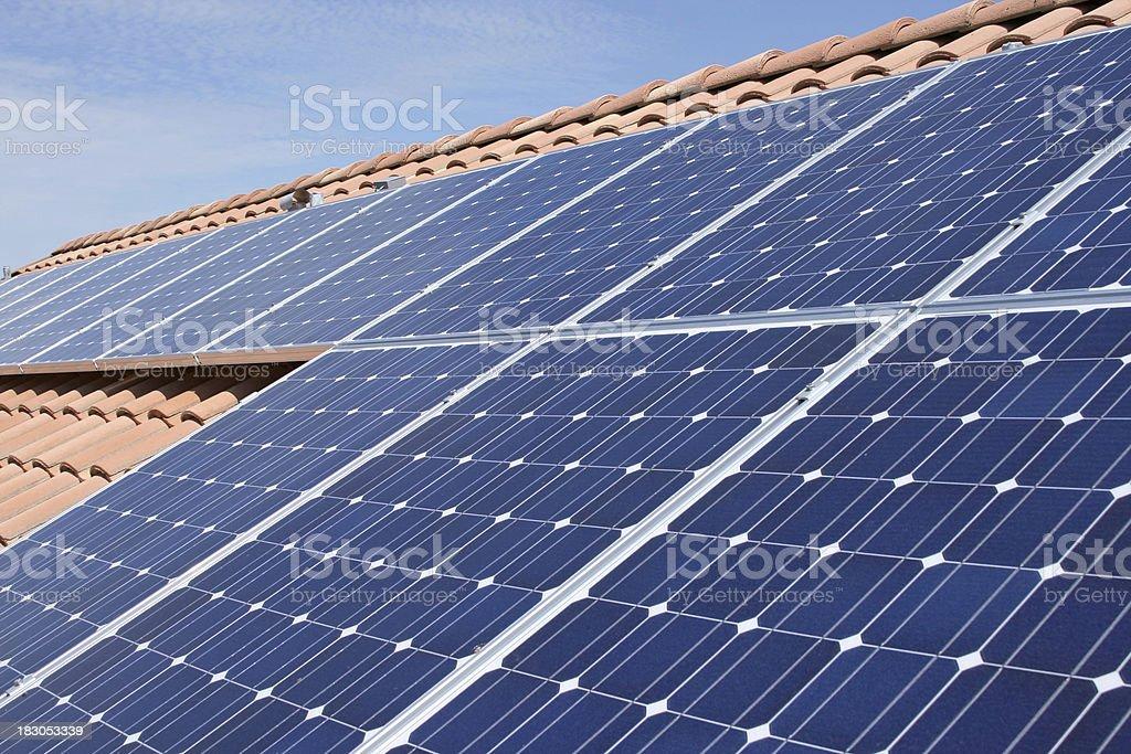 Tile Roof Solar Panels stock photo