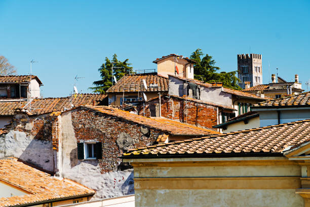 Tile roofs of Lucca, Italy stock photo