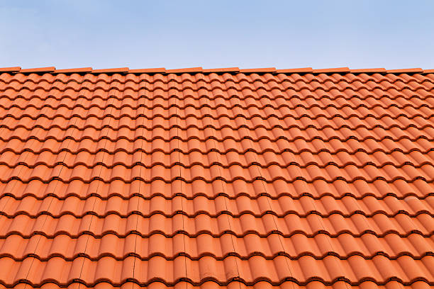 Tile roofs, patterns stock photo