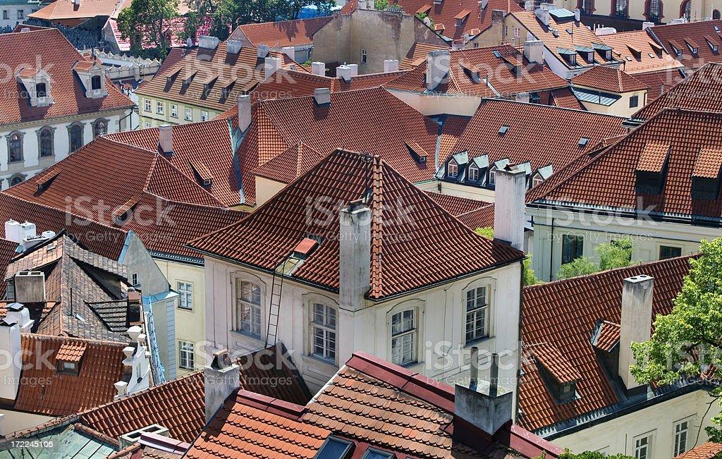 Tile Rooftops European Architecture Prague royalty-free stock photo