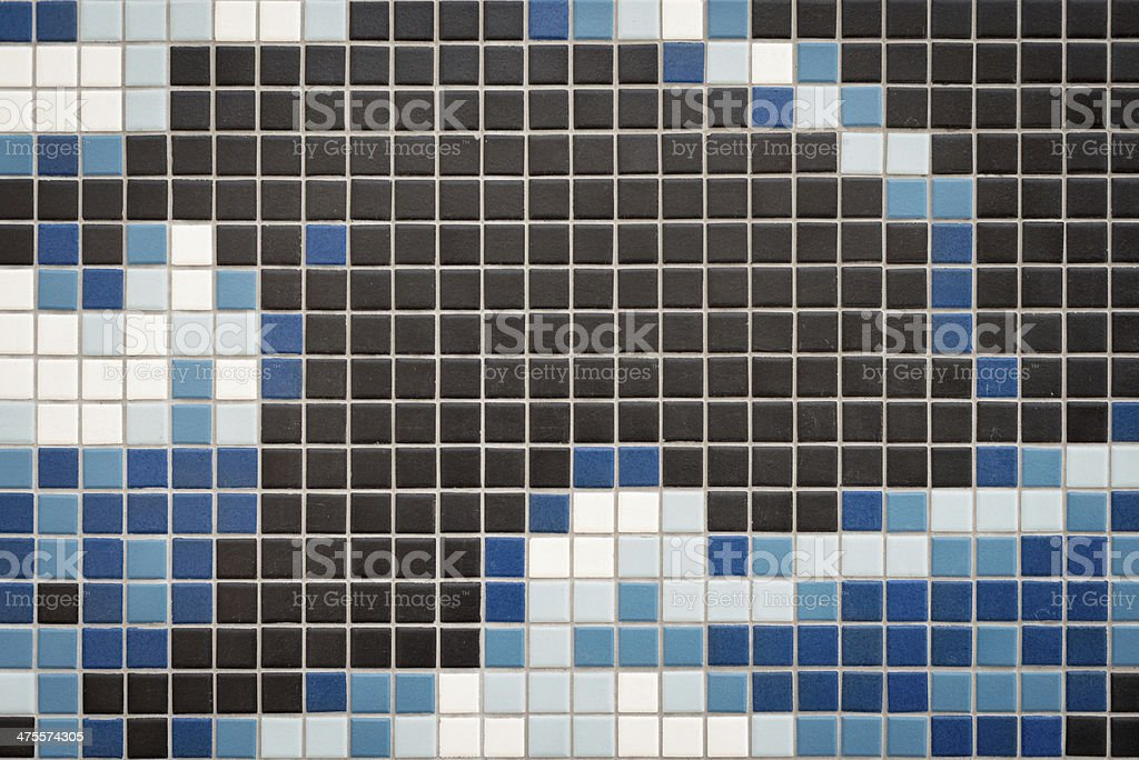 Tile Wall in Blue, White and Black stock photo