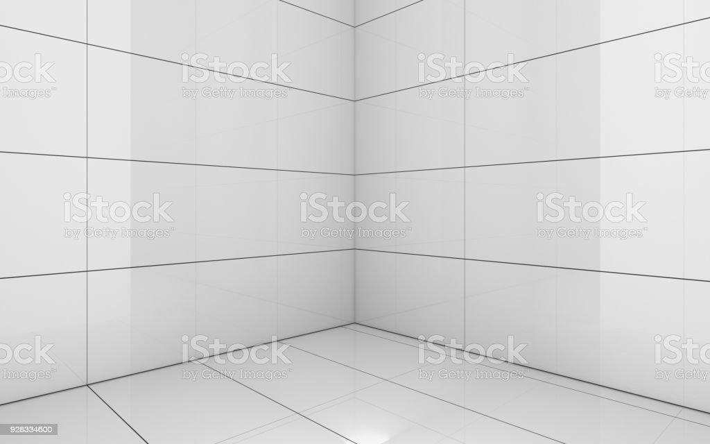 Tile white room texture background d render illustration