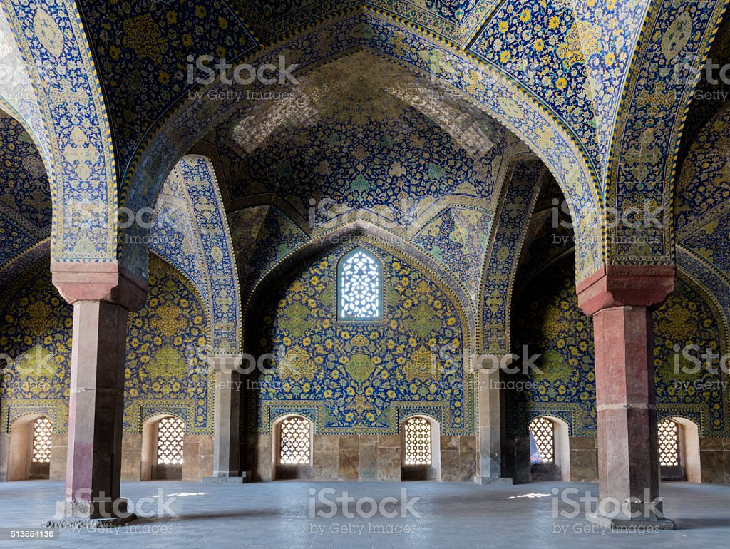 Tile-covered arches of Masjed-e Imam, Isfahan, Iran stock photo