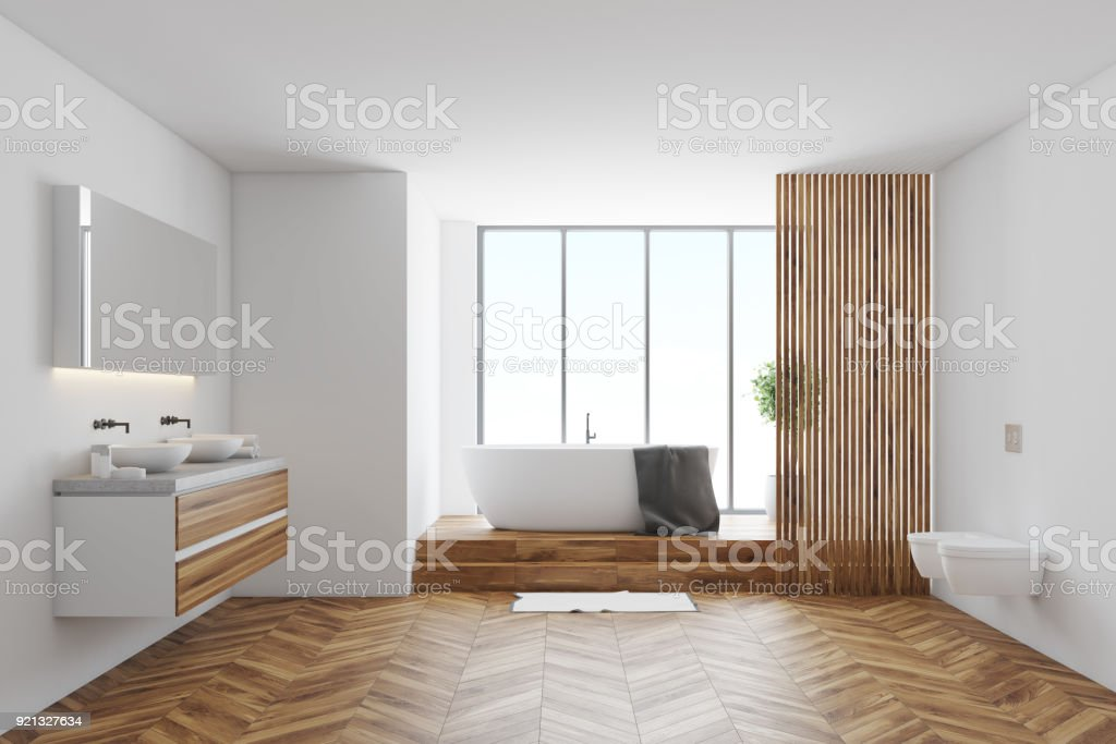 Tiled and white bathroom stock photo