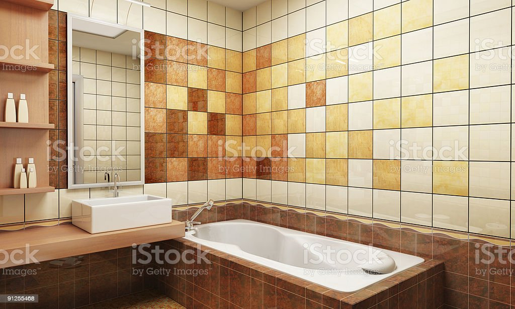 Tiled bathroom in shades of brown stock photo