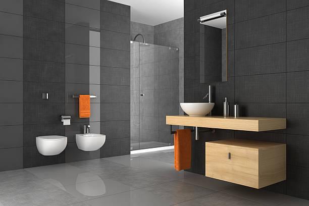 geflieste badezimmer mit holzmöbeln - badezimmermöbel holz stock-fotos und bilder