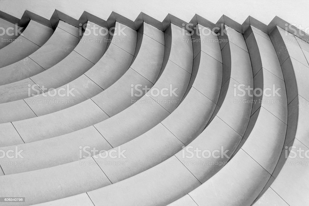 Tiled curvilinear stairs. Top view of modern architecture detail. stock photo