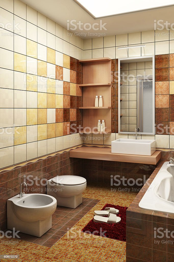 tiled design of the bathroom stock photo