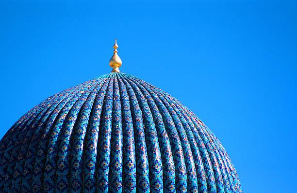 tiled dome of a mosque in samarkand, uzbekistan - oezbekistan stockfoto's en -beelden