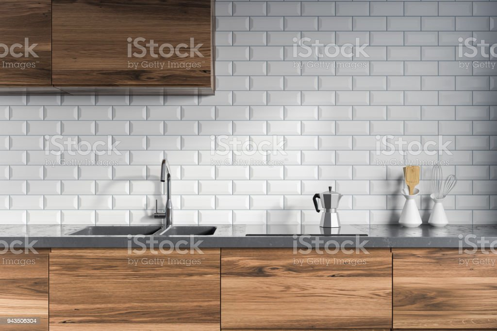 Tiled Kitchen Interior Dark Wooden Counters Stock Photo Download Image Now Istock,King Bedroom Furniture Sets