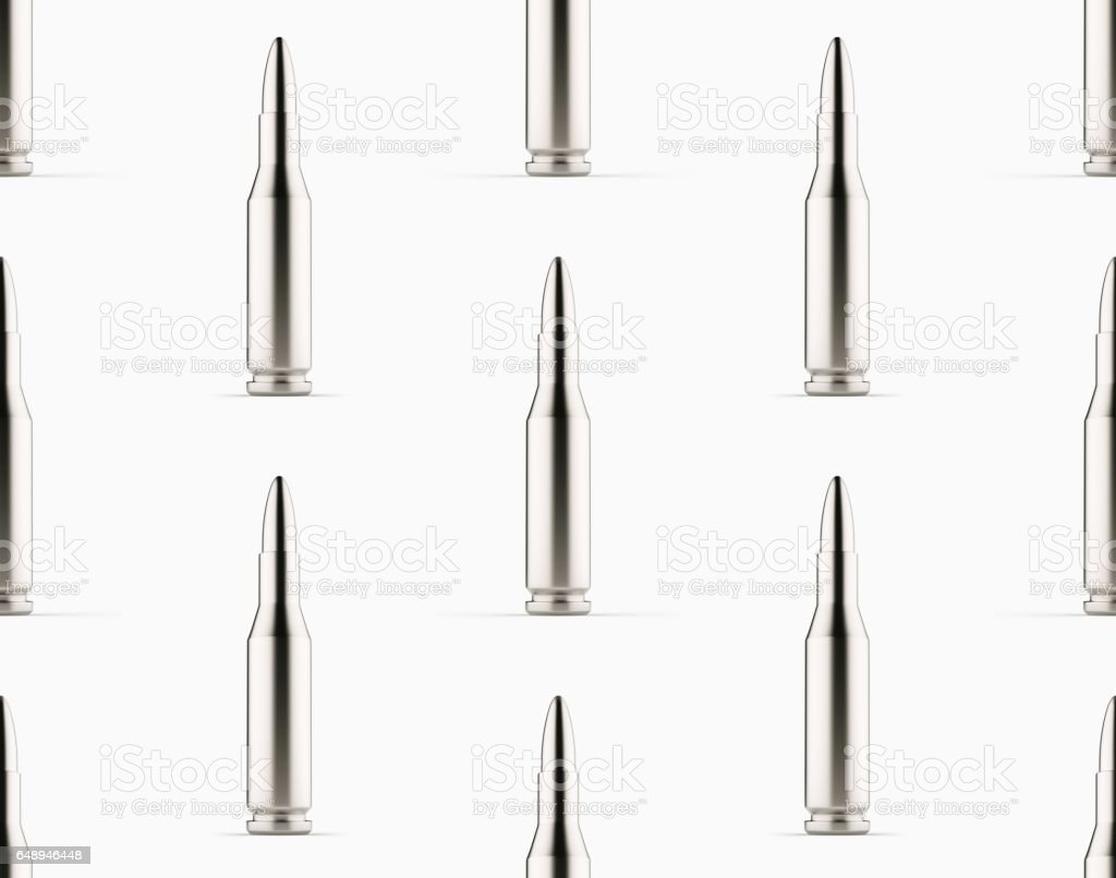 Tiled Pattern of Shiny Silver Rifle Rounds on White Background stock photo