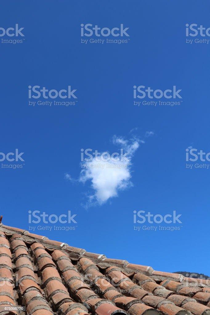 tiled roof and sky photo libre de droits