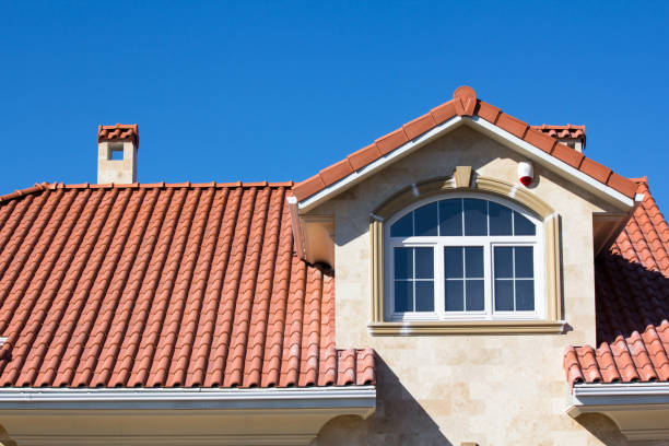 Tiled Roof Covering On House Red Tiled Ceramic Roof On House clay stock pictures, royalty-free photos & images
