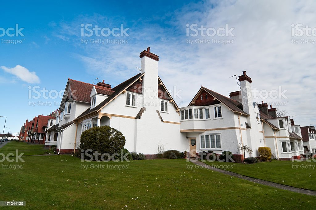 Tiled Roof Terraced white British Houses royalty-free stock photo